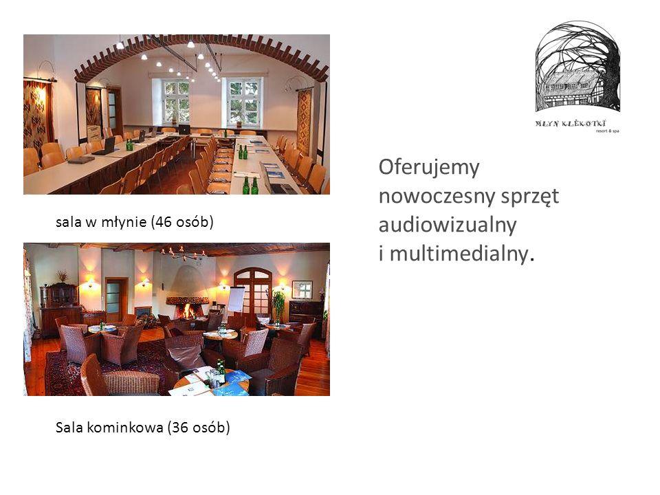 Oferujemy nowoczesny sprzęt audiowizualny i multimedialny. sala w młynie (46 osób) Sala kominkowa (36 osób)