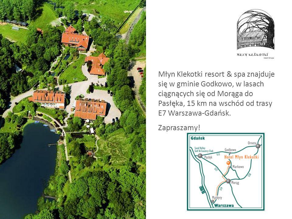 Młyn Klekotki resort & spa znajduje się w gminie Godkowo, w lasach ciągnących się od Morąga do Pasłęka, 15 km na wschód od trasy E7 Warszawa-Gdańsk. Z