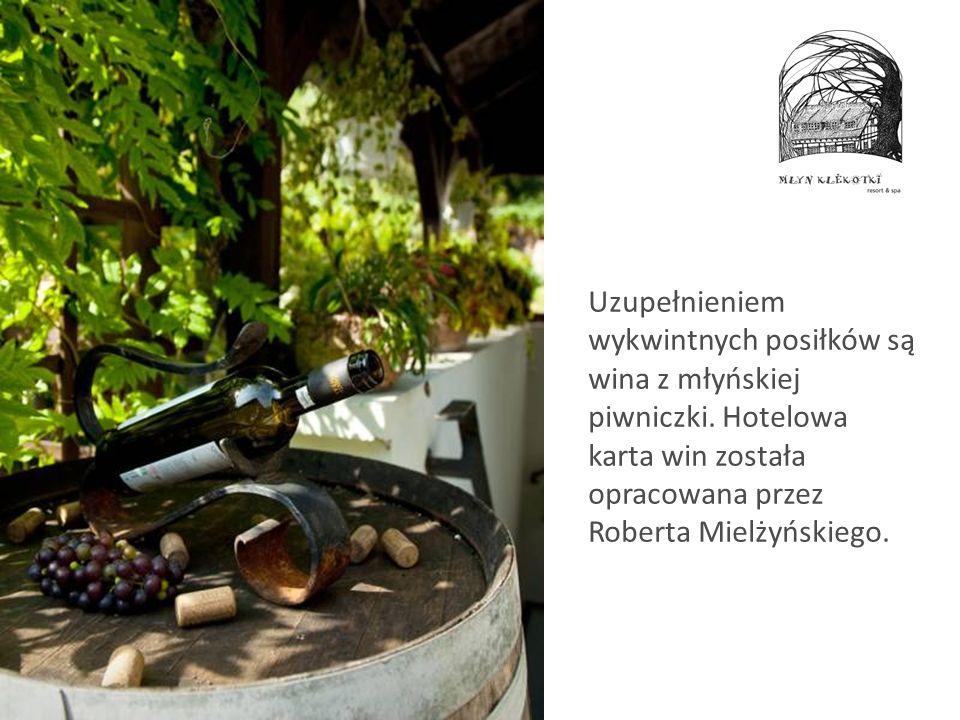 Uzupełnieniem wykwintnych posiłków są wina z młyńskiej piwniczki. Hotelowa karta win została opracowana przez Roberta Mielżyńskiego.
