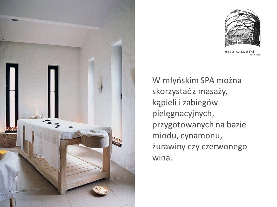 W młyńskim SPA można skorzystać z masaży, kąpieli i zabiegów pielęgnacyjnych, przygotowanych na bazie miodu, cynamonu, żurawiny czy czerwonego wina.