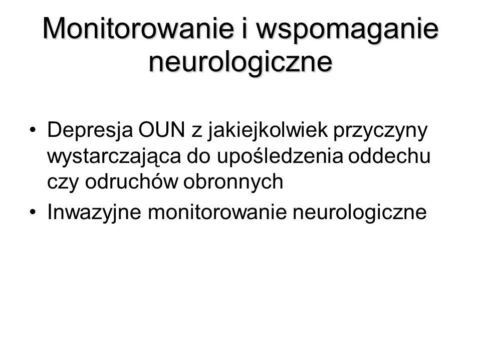 Monitorowanie i wspomaganie neurologiczne Depresja OUN z jakiejkolwiek przyczyny wystarczająca do upośledzenia oddechu czy odruchów obronnych Inwazyjne monitorowanie neurologiczne