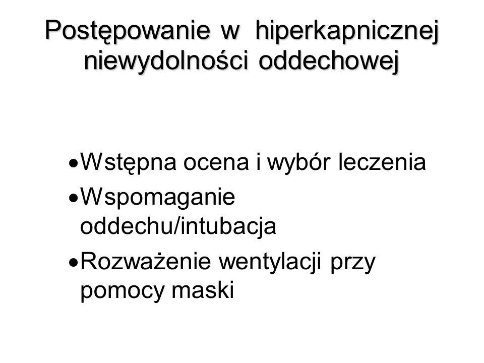 Postępowanie w hiperkapnicznej niewydolności oddechowej Wstępna ocena i wybór leczenia Wspomaganie oddechu/intubacja Rozważenie wentylacji przy pomocy maski