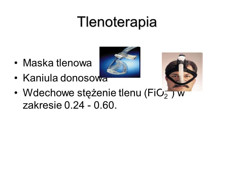 Tlenoterapia Maska tlenowa Kaniula donosowa Wdechowe stężenie tlenu (FiO 2 ) w zakresie 0.24 - 0.60.
