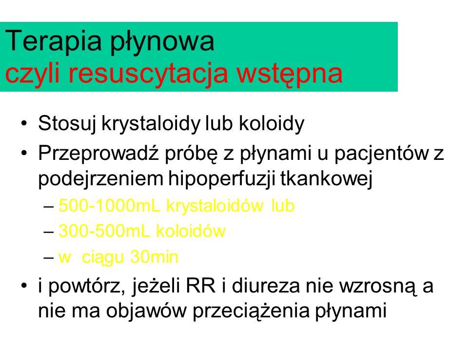 Stosuj krystaloidy lub koloidy Przeprowadź próbę z płynami u pacjentów z podejrzeniem hipoperfuzji tkankowej –500-1000mL krystaloidów lub –300-500mL koloidów –w ciągu 30min i powtórz, jeżeli RR i diureza nie wzrosną a nie ma objawów przeciążenia płynami Terapia płynowa czyli resuscytacja wstępna