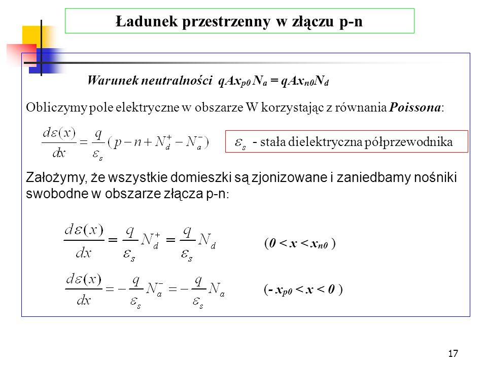17 Warunek neutralności qAx p0 N a = qAx n0 N d Obliczymy pole elektryczne w obszarze W korzystając z równania Poissona: Założymy, że wszystkie domies