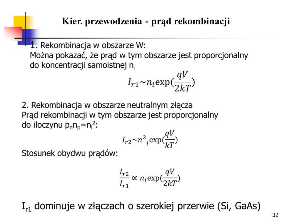 32 Kier. przewodzenia - prąd rekombinacji