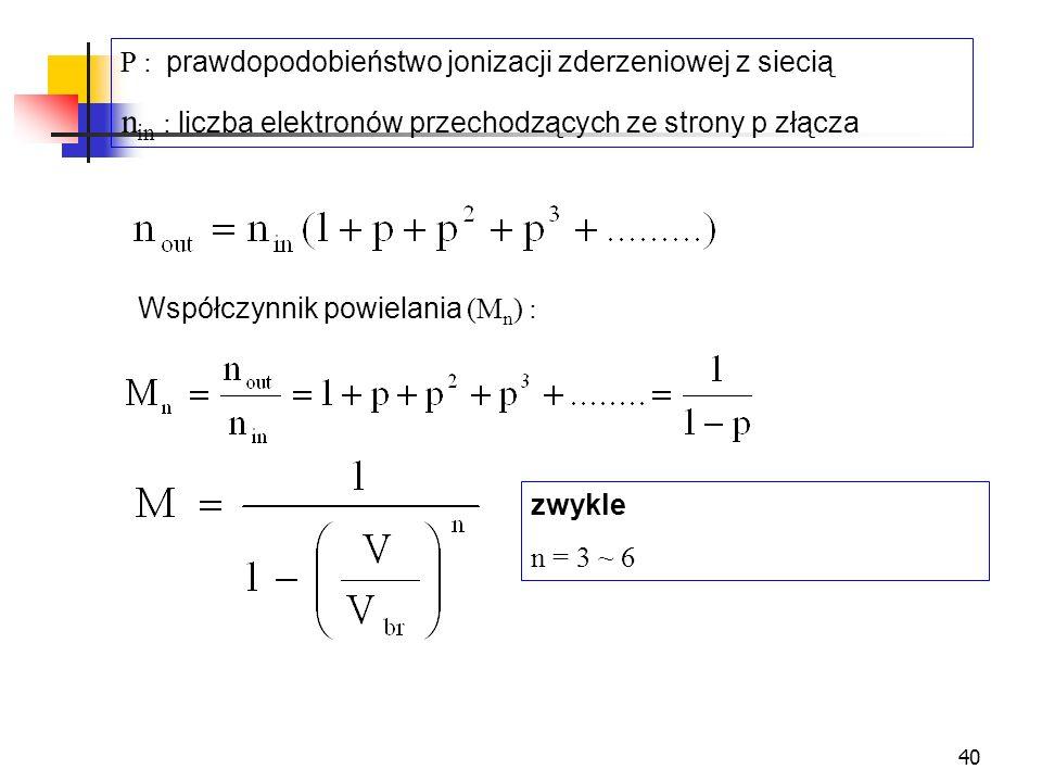 40 P : prawdopodobieństwo jonizacji zderzeniowej z siecią n in : liczba elektronów przechodzących ze strony p złącza zwykle n = 3 ~ 6 Współczynnik pow