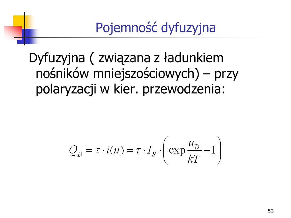 53 Dyfuzyjna ( związana z ładunkiem nośników mniejszościowych) – przy polaryzacji w kier. przewodzenia: Pojemność dyfuzyjna