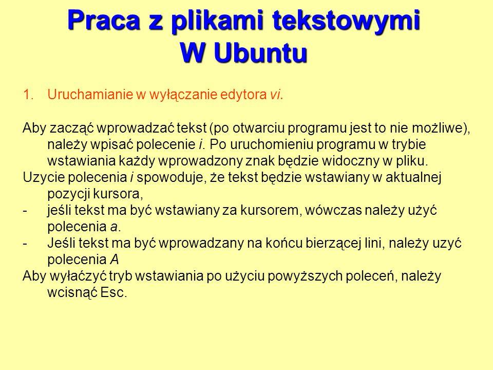 Praca z plikami tekstowymi W Ubuntu 1.Uruchamianie w wyłączanie edytora vi. Aby zacząć wprowadzać tekst (po otwarciu programu jest to nie możliwe), na