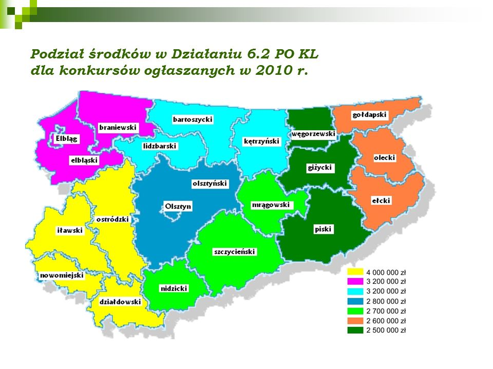 Podział środków w Działaniu 6.2 PO KL dla konkursów ogłaszanych w 2010 r.