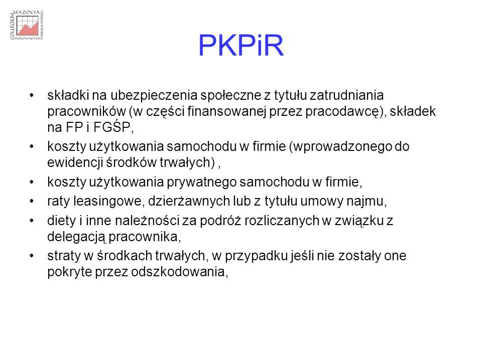PKPiR składki na ubezpieczenia społeczne z tytułu zatrudniania pracowników (w części finansowanej przez pracodawcę), składek na FP i FGŚP, koszty użyt