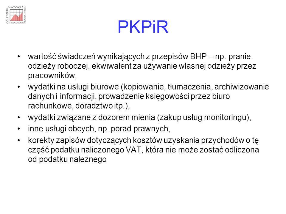 PKPiR wartość świadczeń wynikających z przepisów BHP – np. pranie odzieży roboczej, ekwiwalent za używanie własnej odzieży przez pracowników, wydatki