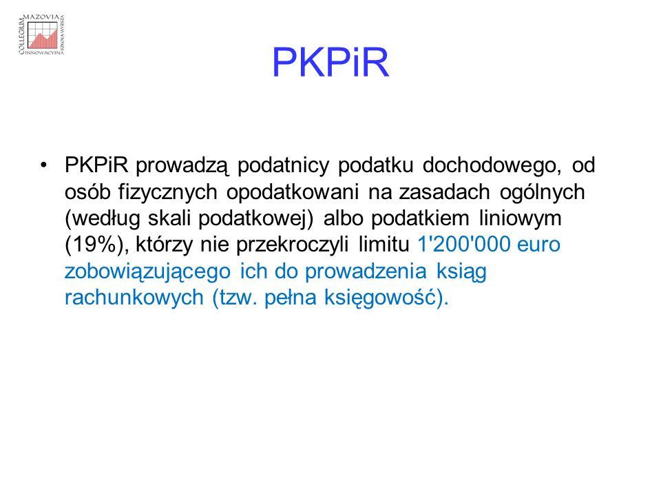 PKPiR PKPiR prowadzą podatnicy podatku dochodowego, od osób fizycznych opodatkowani na zasadach ogólnych (według skali podatkowej) albo podatkiem lini