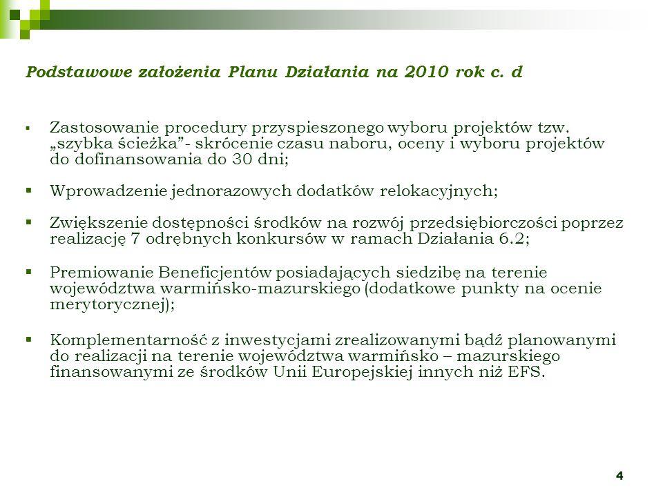 4 Podstawowe założenia Planu Działania na 2010 rok c. d Zastosowanie procedury przyspieszonego wyboru projektów tzw. szybka ścieżka- skrócenie czasu n
