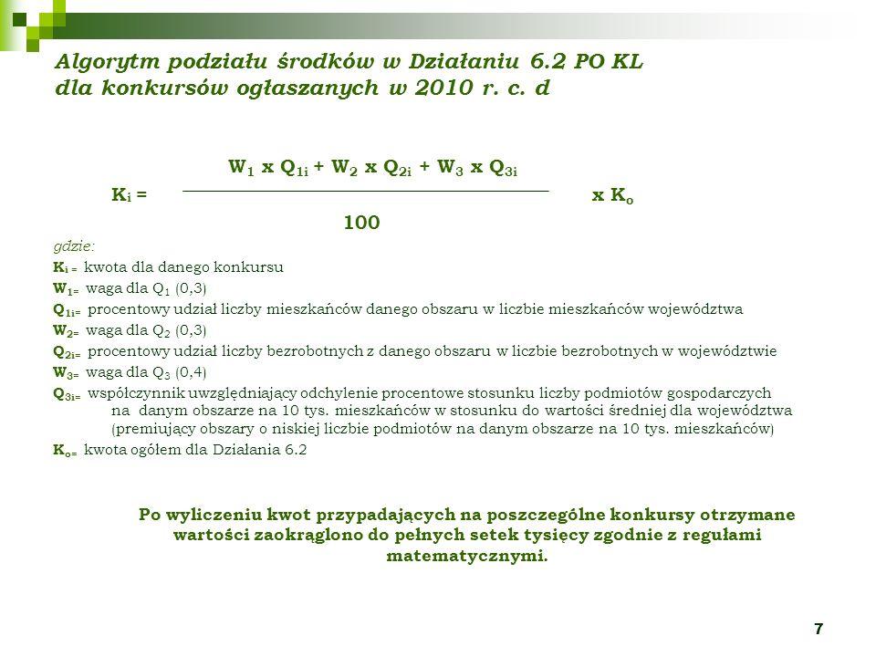 7 Algorytm podziału środków w Działaniu 6.2 PO KL dla konkursów ogłaszanych w 2010 r. c. d W 1 x Q 1i + W 2 x Q 2i + W 3 x Q 3i K i = x K o 100 gdzie:
