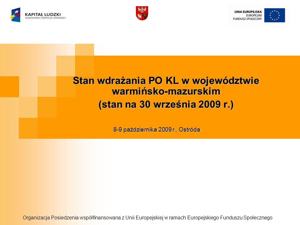 Stan wdrażania PO KL w województwie warmińsko-mazurskim (stan na 30 września 2009 r.) Organizacja Posiedzenia współfinansowana z Unii Europejskiej w r