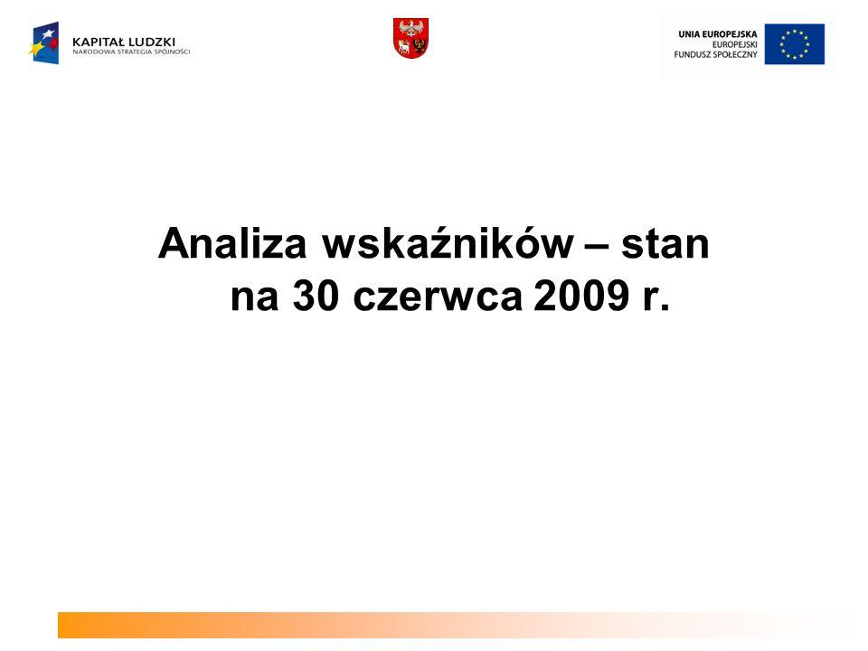 Analiza wskaźników – stan na 30 czerwca 2009 r.