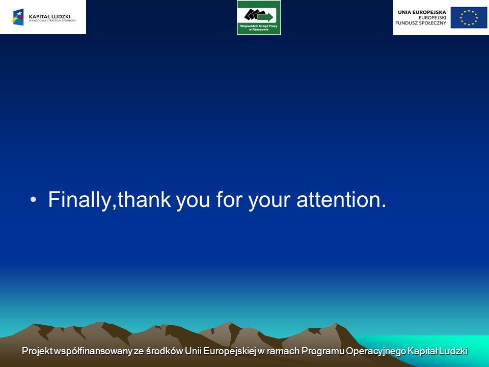 Finally,thank you for your attention. Projekt współfinansowany ze środków Unii Europejskiej w ramach Programu Operacyjnego Kapitał Ludzki