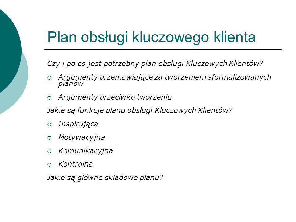Plan obsługi kluczowego klienta Czy i po co jest potrzebny plan obsługi Kluczowych Klientów? Argumenty przemawiające za tworzeniem sformalizowanych pl
