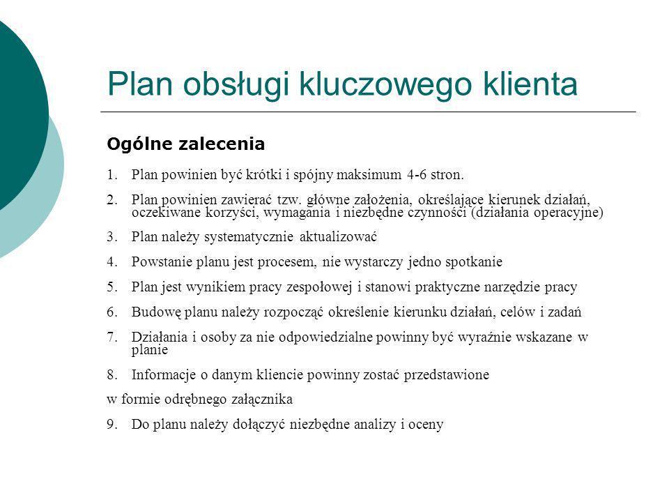 Plan obsługi kluczowego klienta Ogólne zalecenia 1.Plan powinien być krótki i spójny maksimum 4-6 stron. 2.Plan powinien zawierać tzw. główne założeni