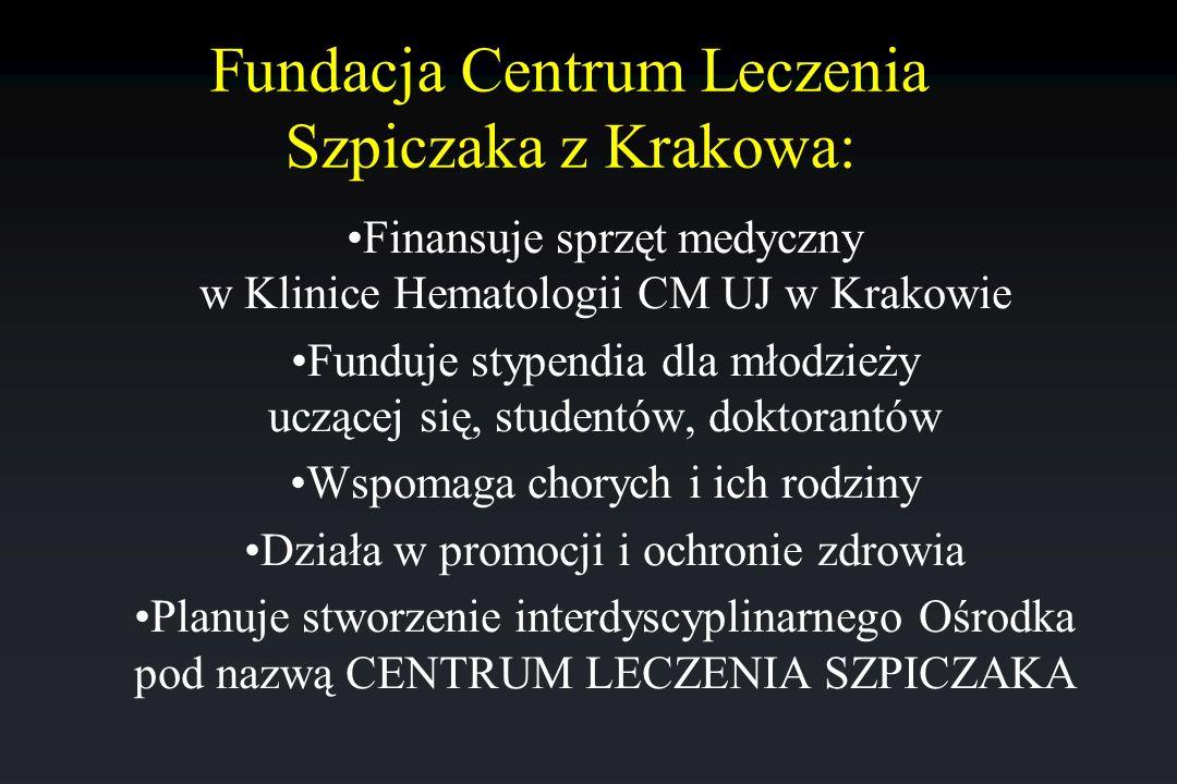 Fundacja Centrum Leczenia Szpiczaka z Krakowa: Finansuje sprzęt medyczny w Klinice Hematologii CM UJ w Krakowie Funduje stypendia dla młodzieży uczące