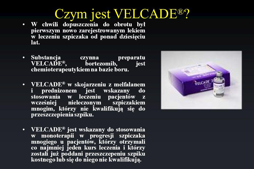 Czym jest VELCADE ® ? W chwili dopuszczenia do obrotu był pierwszym nowo zarejestrowanym lekiem w leczeniu szpiczaka od ponad dziesięciu lat. Substanc