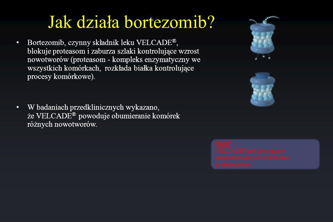 Jak działa bortezomib? Bortezomib, czynny składnik leku VELCADE ®, blokuje proteasom i zaburza szlaki kontrolujące wzrost nowotworów (proteasom - komp