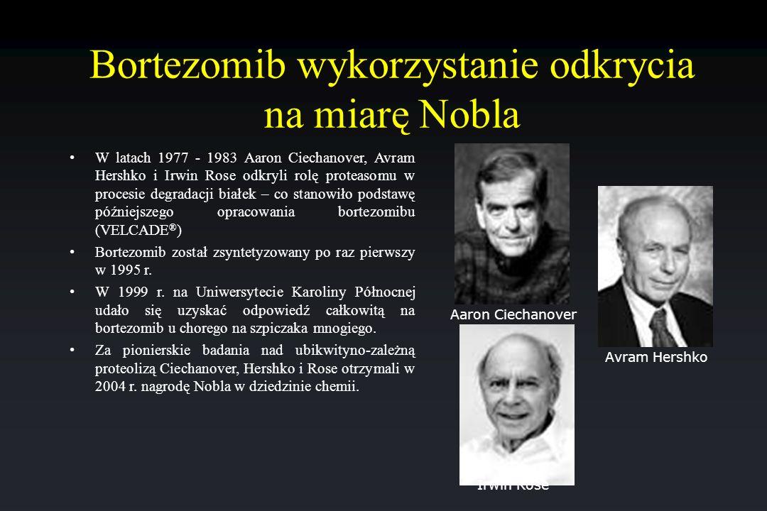 Bortezomib wykorzystanie odkrycia na miarę Nobla W latach 1977 - 1983 Aaron Ciechanover, Avram Hershko i Irwin Rose odkryli rolę proteasomu w procesie