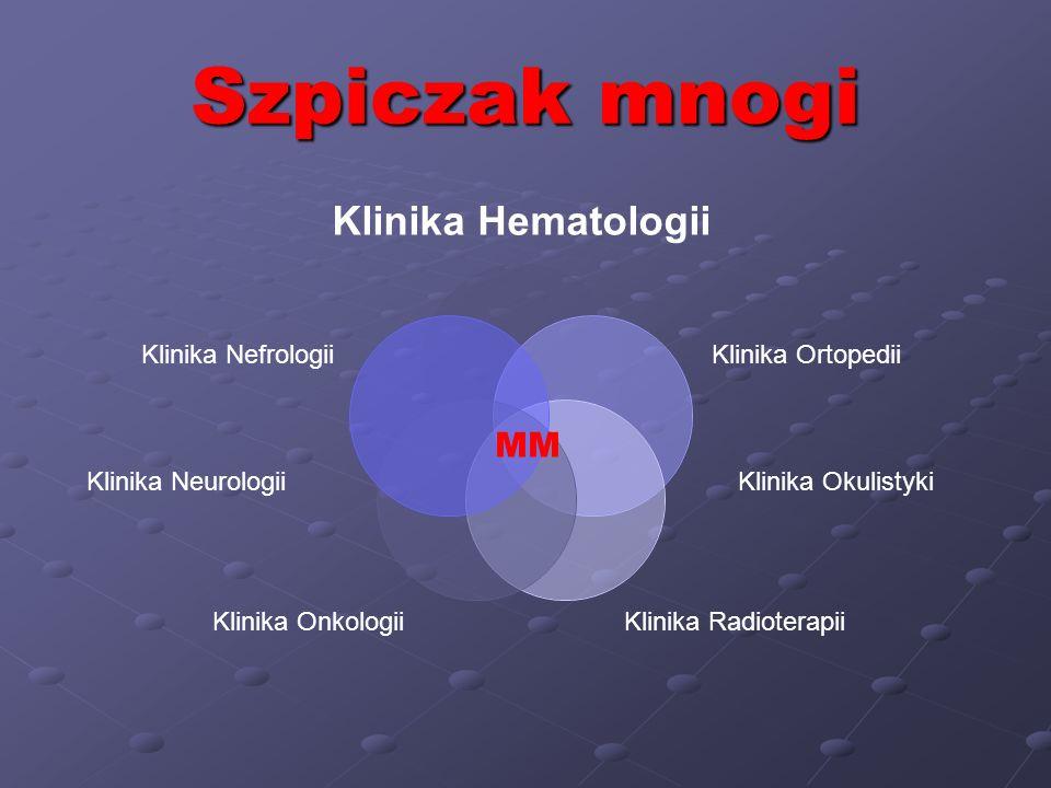 Szpiczak mnogi Klinika Hematologii Klinika Ortopedii Klinika Radioterapii Klinika Onkologii Klinika Nefrologii MM Klinika OkulistykiKlinika Neurologii