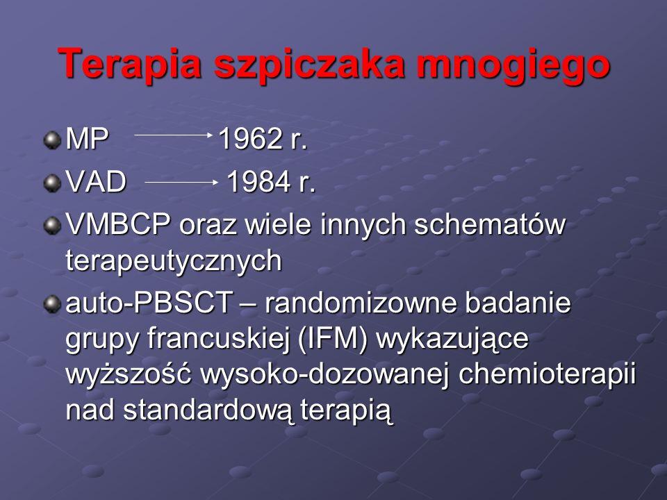 Terapia szpiczaka mnogiego MP 1962 r. VAD 1984 r. VMBCP oraz wiele innych schematów terapeutycznych auto-PBSCT – randomizowne badanie grupy francuskie