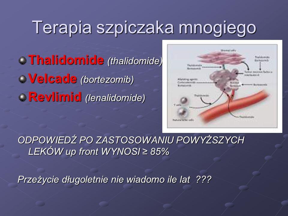 Terapia szpiczaka mnogiego Thalidomide (thalidomide) Velcade (bortezomib) Revlimid (lenalidomide) ODPOWIEDŹ PO ZASTOSOWANIU POWYŻSZYCH LEKÓW up front