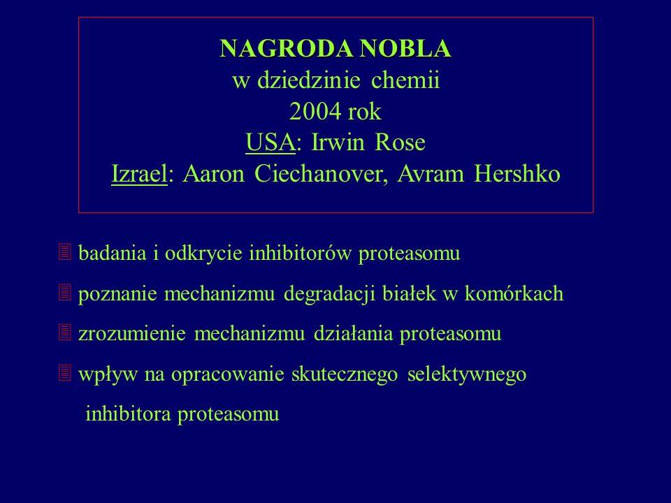 NAGRODA NOBLA w dziedzinie chemii 2004 rok USA: Irwin Rose Izrael: Aaron Ciechanover, Avram Hershko 3 badania i odkrycie inhibitorów proteasomu 3 pozn