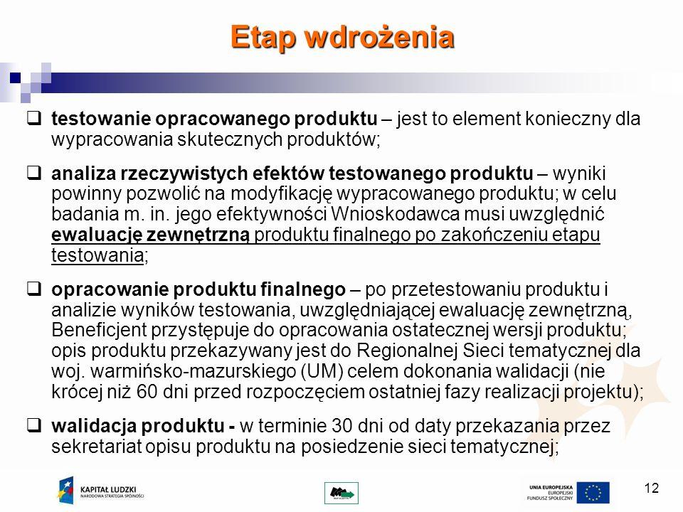 12 testowanie opracowanego produktu – jest to element konieczny dla wypracowania skutecznych produktów; analiza rzeczywistych efektów testowanego produktu – wyniki powinny pozwolić na modyfikację wypracowanego produktu; w celu badania m.