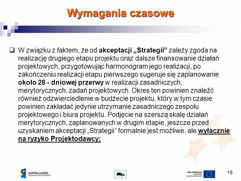 15 W związku z faktem, że od akceptacji Strategii zależy zgoda na realizację drugiego etapu projektu oraz dalsze finansowanie działań projektowych, pr