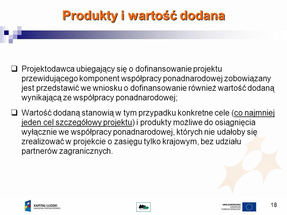 18 Projektodawca ubiegający się o dofinansowanie projektu przewidującego komponent współpracy ponadnarodowej zobowiązany jest przedstawić we wniosku o
