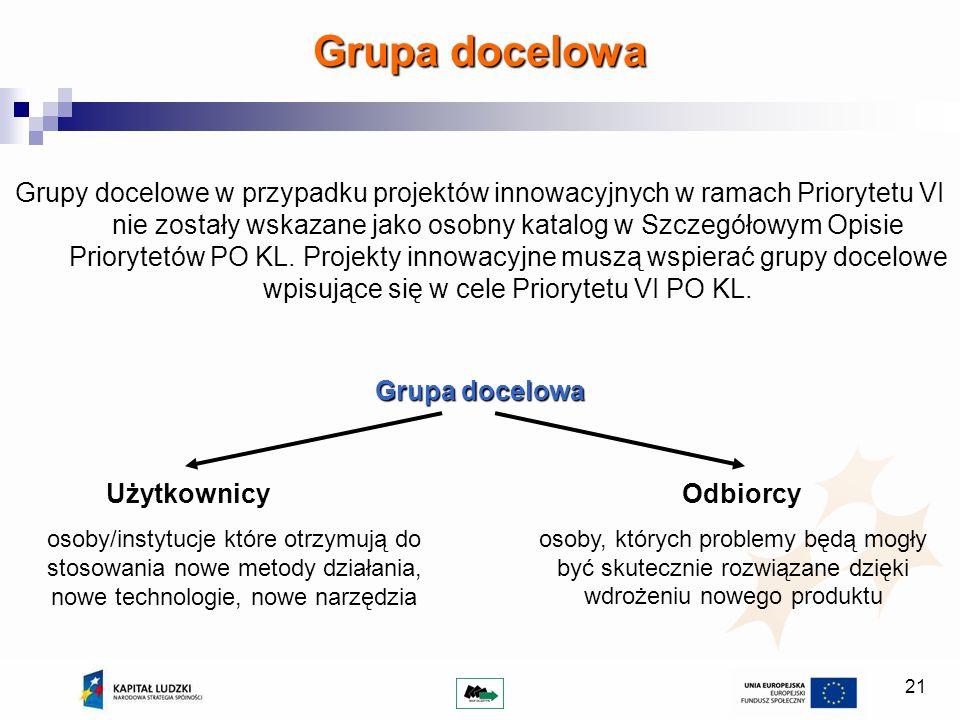 21 Grupy docelowe w przypadku projektów innowacyjnych w ramach Priorytetu VI nie zostały wskazane jako osobny katalog w Szczegółowym Opisie Priorytetów PO KL.