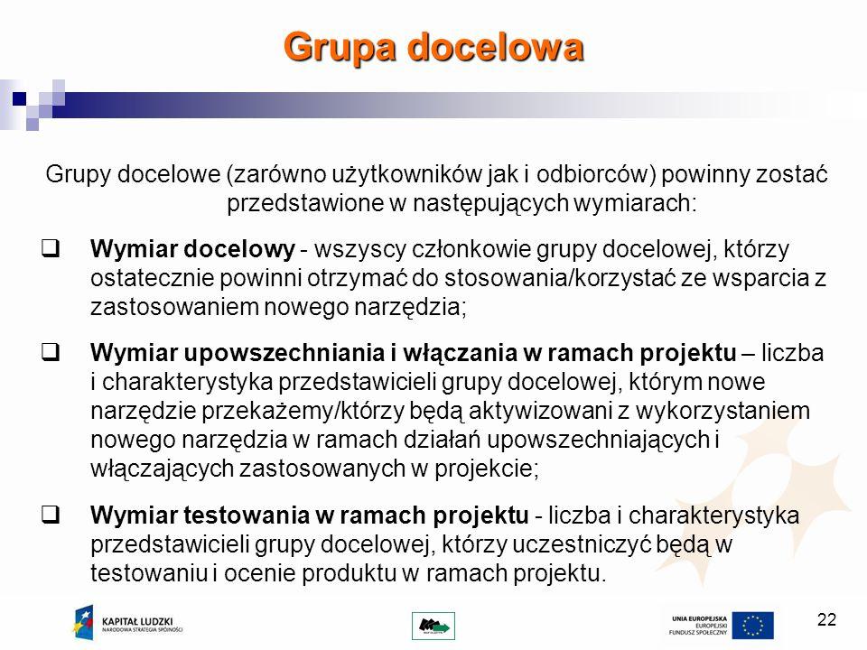 22 Grupy docelowe (zarówno użytkowników jak i odbiorców) powinny zostać przedstawione w następujących wymiarach: Wymiar docelowy - wszyscy członkowie