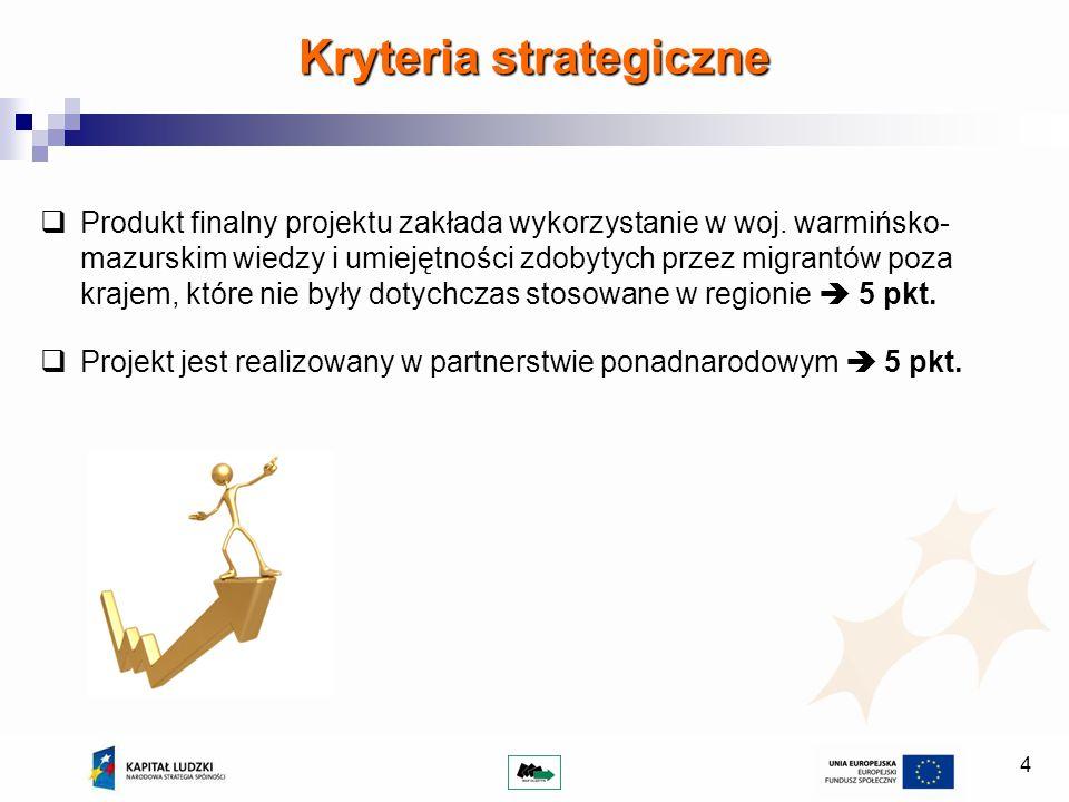 4 Produkt finalny projektu zakłada wykorzystanie w woj. warmińsko- mazurskim wiedzy i umiejętności zdobytych przez migrantów poza krajem, które nie by