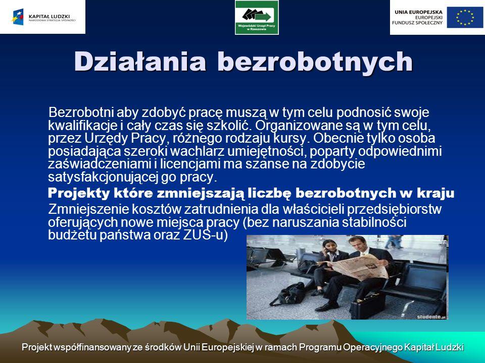 Projekt współfinansowany ze środków Unii Europejskiej w ramach Programu Operacyjnego Kapitał Ludzki Działania bezrobotnych Bezrobotni aby zdobyć pracę