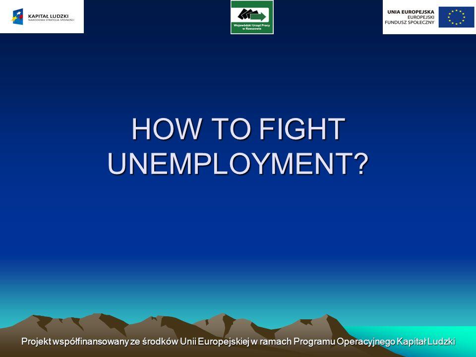 Projekt współfinansowany ze środków Unii Europejskiej w ramach Programu Operacyjnego Kapitał Ludzki HOW TO FIGHT UNEMPLOYMENT?