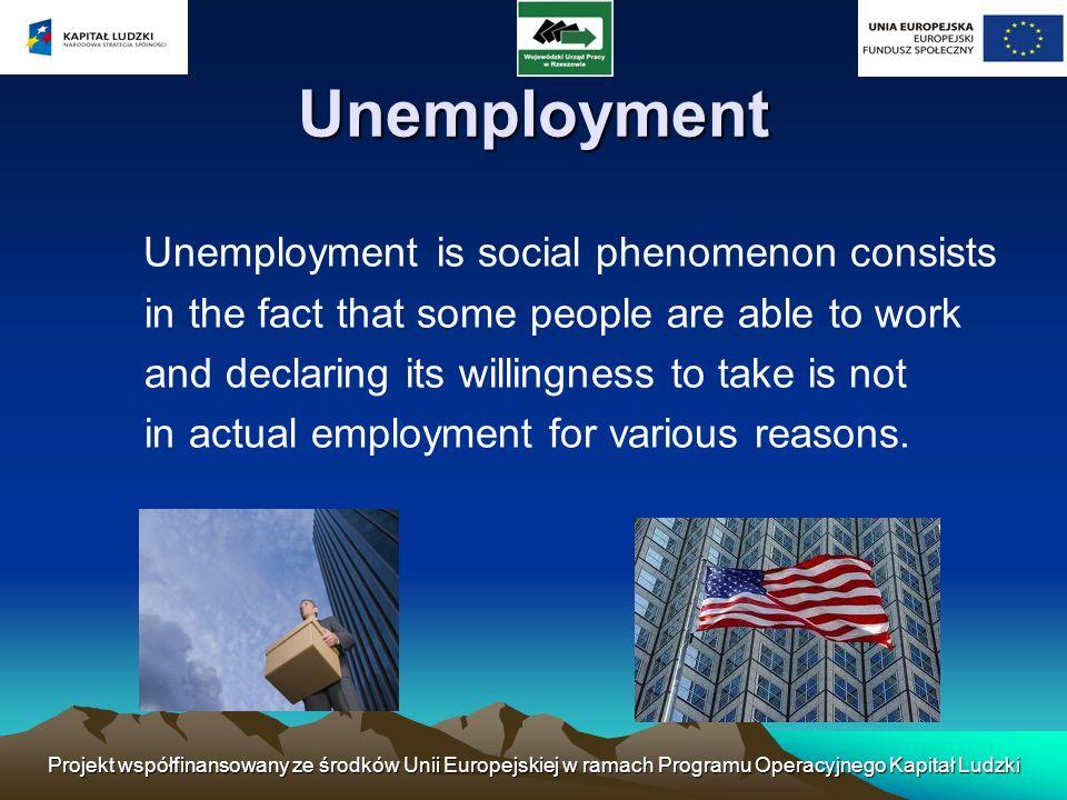 Projekt współfinansowany ze środków Unii Europejskiej w ramach Programu Operacyjnego Kapitał Ludzki Unemployment Unemployment is social phenomenon con