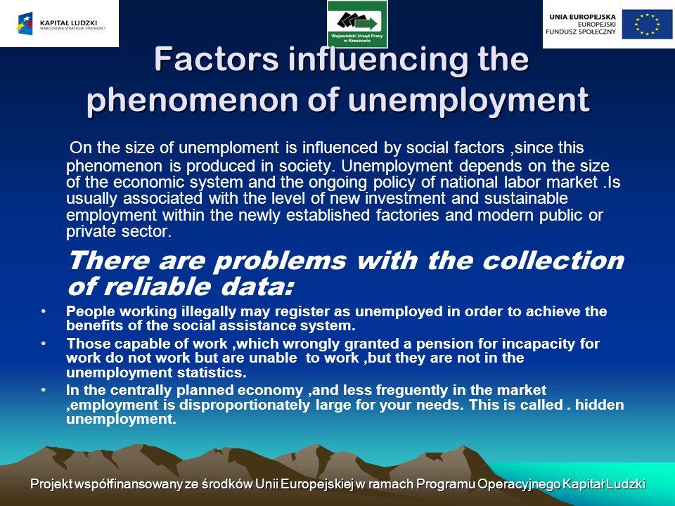 Projekt współfinansowany ze środków Unii Europejskiej w ramach Programu Operacyjnego Kapitał Ludzki Factors influencing the phenomenon of unemployment