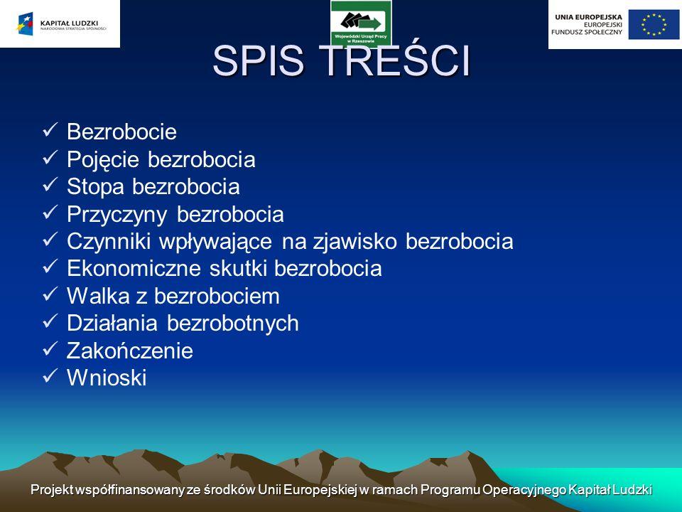 Projekt współfinansowany ze środków Unii Europejskiej w ramach Programu Operacyjnego Kapitał Ludzki SPIS TREŚCI Bezrobocie Pojęcie bezrobocia Stopa be