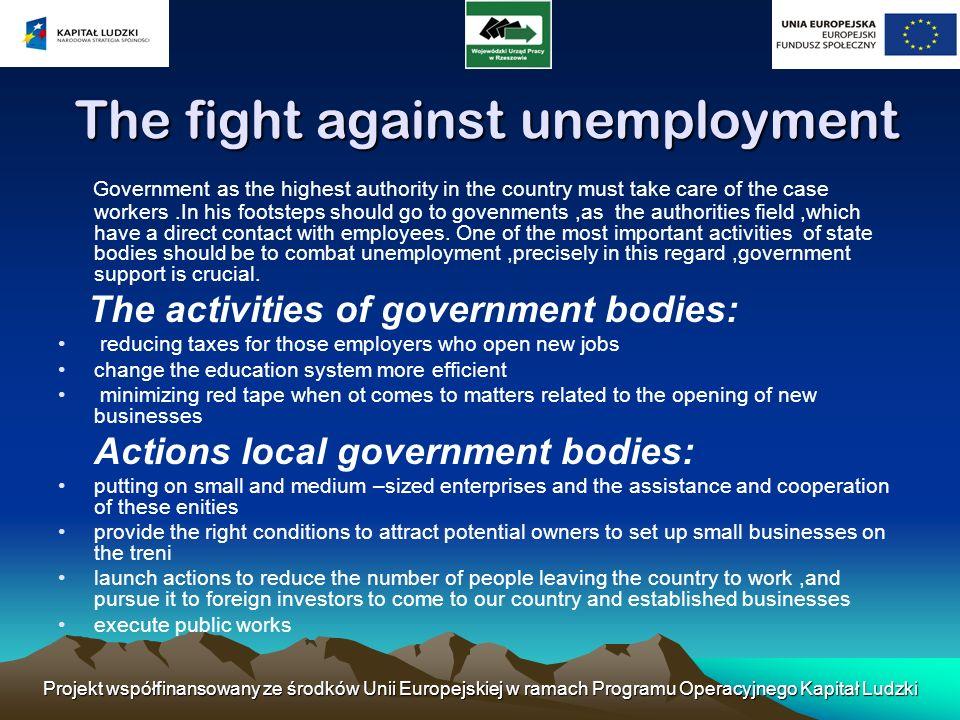 Projekt współfinansowany ze środków Unii Europejskiej w ramach Programu Operacyjnego Kapitał Ludzki The fight against unemployment The fight against u