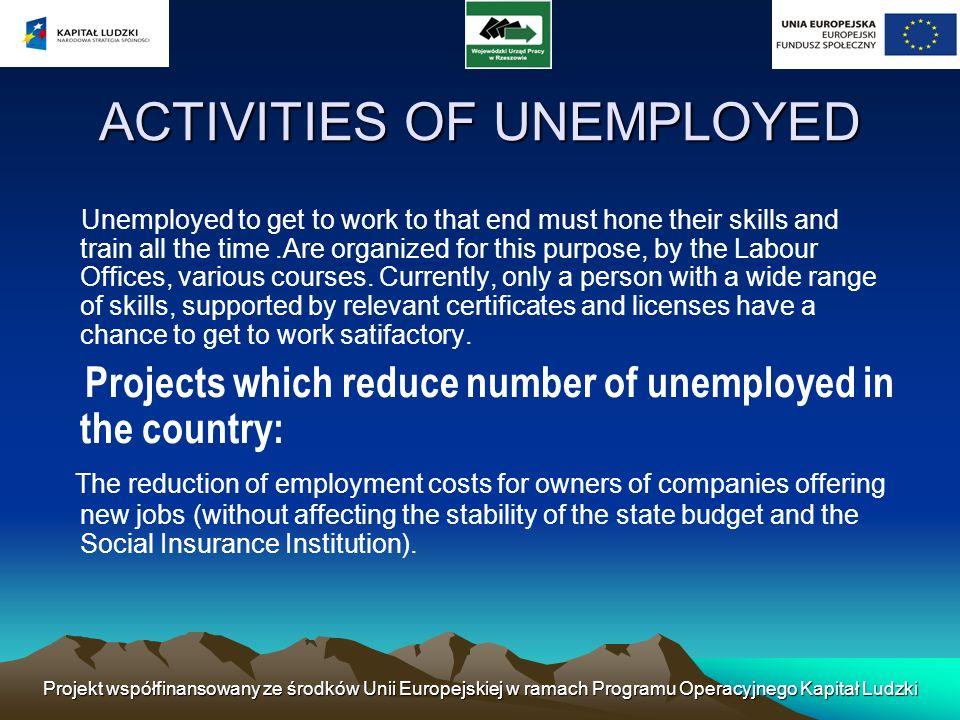 Projekt współfinansowany ze środków Unii Europejskiej w ramach Programu Operacyjnego Kapitał Ludzki ACTIVITIES OF UNEMPLOYED Unemployed to get to work