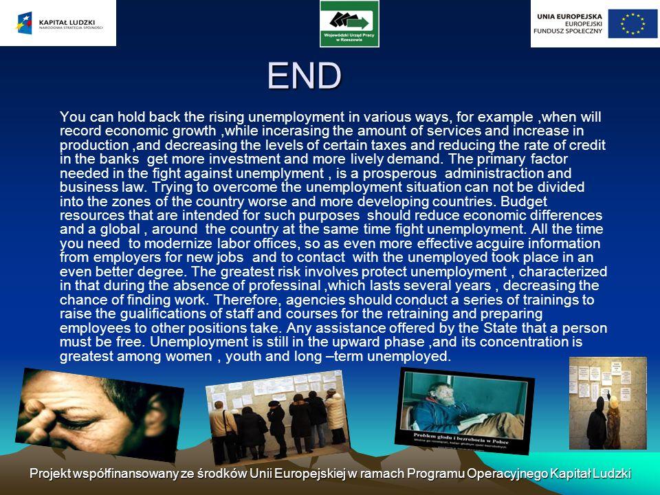 Projekt współfinansowany ze środków Unii Europejskiej w ramach Programu Operacyjnego Kapitał Ludzki END You can hold back the rising unemployment in v