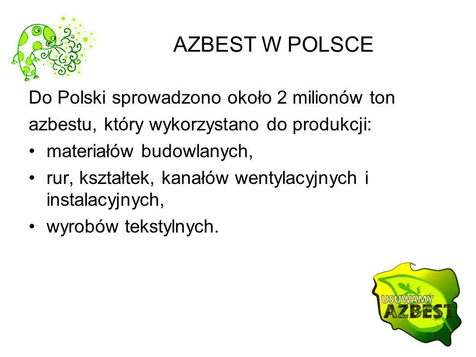 AZBEST W POLSCE Do Polski sprowadzono około 2 milionów ton azbestu, który wykorzystano do produkcji: materiałów budowlanych, rur, kształtek, kanałów w