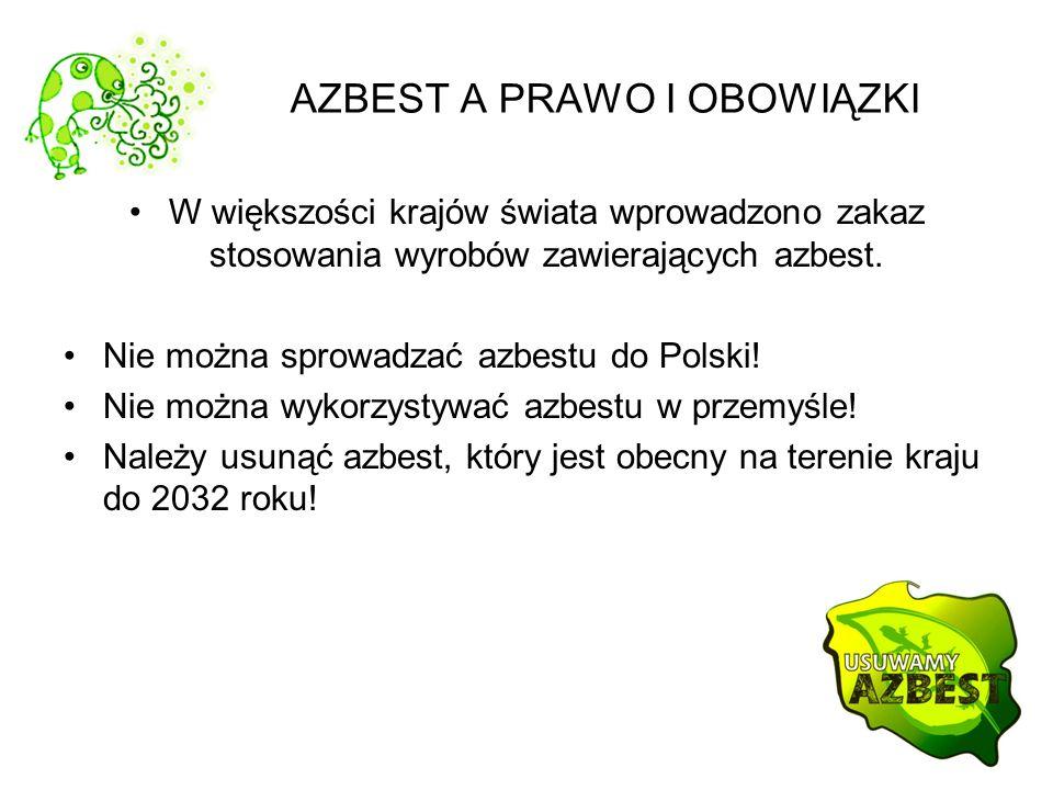 AZBEST A PRAWO I OBOWIĄZKI W większości krajów świata wprowadzono zakaz stosowania wyrobów zawierających azbest. Nie można sprowadzać azbestu do Polsk