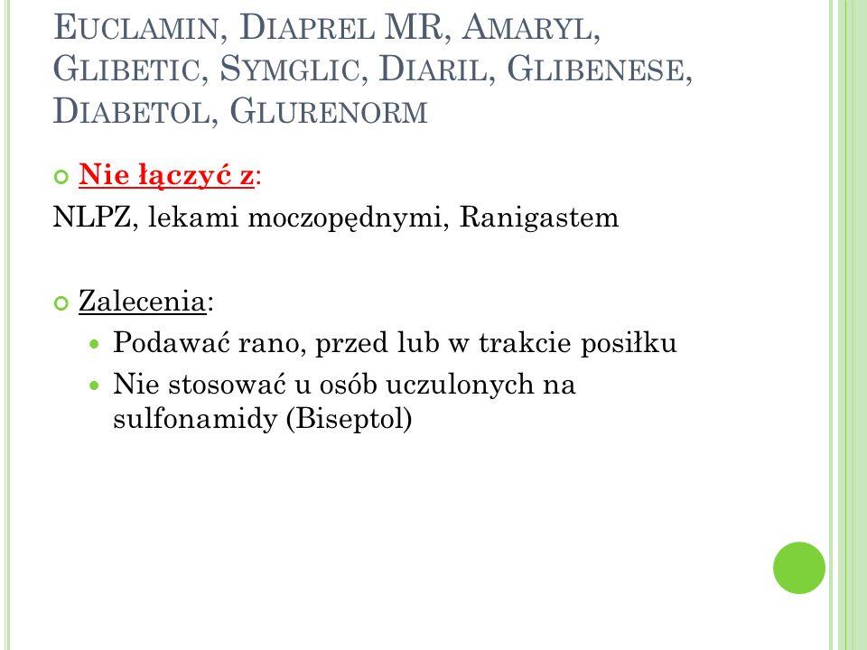 E UCLAMIN, D IAPREL MR, A MARYL, G LIBETIC, S YMGLIC, D IARIL, G LIBENESE, D IABETOL, G LURENORM Nie łączyć z : NLPZ, lekami moczopędnymi, Ranigastem