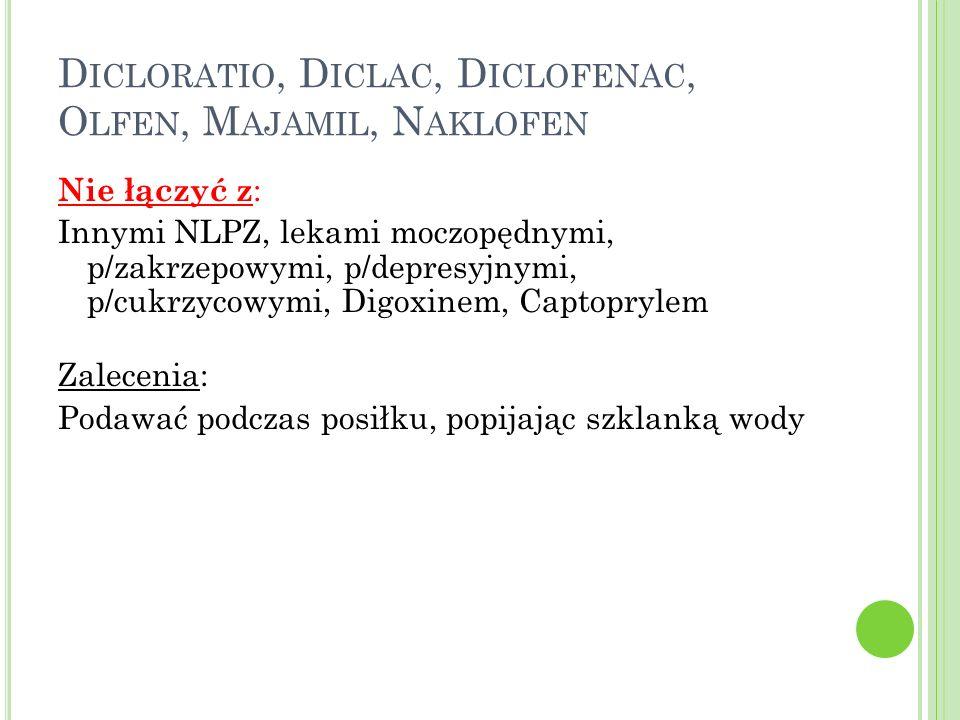 D ICLORATIO, D ICLAC, D ICLOFENAC, O LFEN, M AJAMIL, N AKLOFEN Nie łączyć z : Innymi NLPZ, lekami moczopędnymi, p/zakrzepowymi, p/depresyjnymi, p/cukr